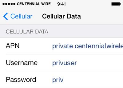 Centennial Wireless  Internet APN settings for iOS9 screenshot