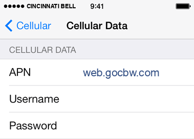 Cincinnati Bell  Internet APN settings for iOS8 screenshot