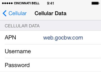 Cincinnati Bell  Internet APN settings for iOS9 screenshot