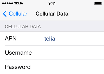 Telia  APN settings for iOS9 screenshot