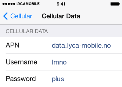 Lycamobile Internet APN settings for iOS9 screenshot