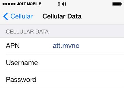 Jolt Mobile  Internet APN settings for iOS8 screenshot