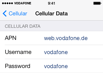 Vodafone Internet APN settings for iOS8 screenshot