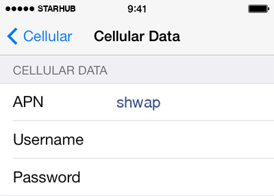 Starhub Internet APN settings for iOS8 screenshot