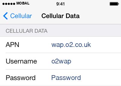 Mobal Internet APN settings for iOS9 screenshot