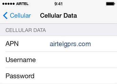 Airtel Internet APN settings for iOS9 screenshot