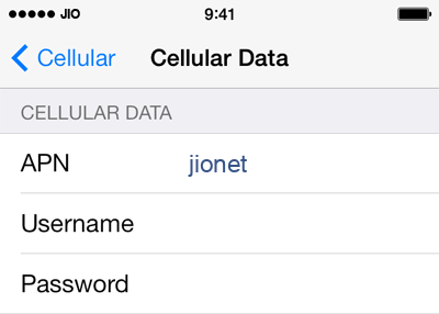 Jio Internet APN settings for iOS8 screenshot