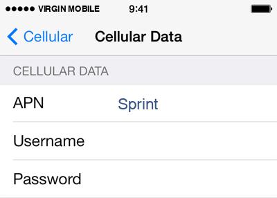 Virgin Mobile  APN settings for iOS9 screenshot