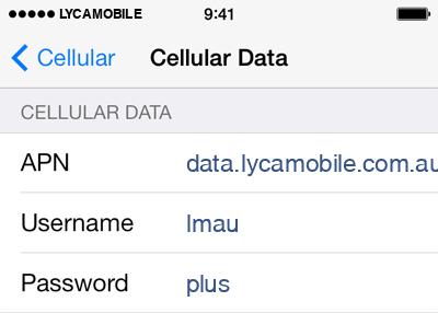 Lycamobile Internet APN settings for iOS9 screenshot