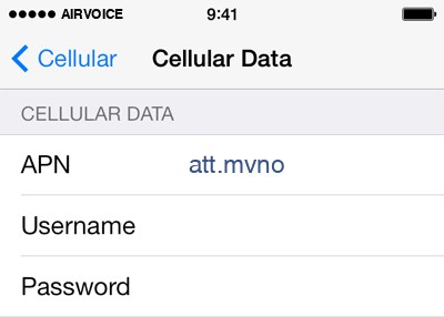 AirVoice  APN settings for iOS8 screenshot