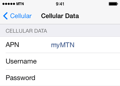MTN Internet APN settings for iOS9 screenshot