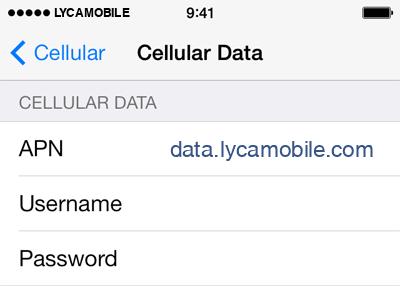 LycaMobile  APN settings for iOS8 screenshot