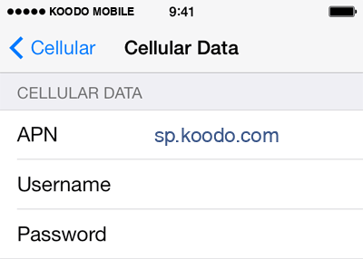 Koodo Mobile  APN settings for iOS8 screenshot