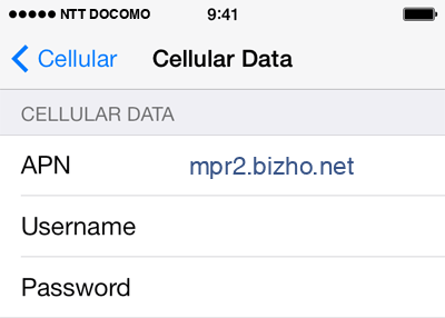 NTT DoCoMo Internet APN settings for iOS8 screenshot