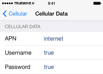 TrueMove H Internet APN settings for iOS9 screenshot