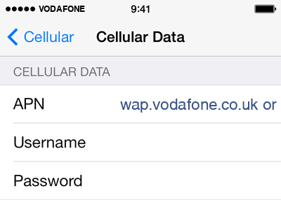 Vodafone  APN settings for iOS9 screenshot