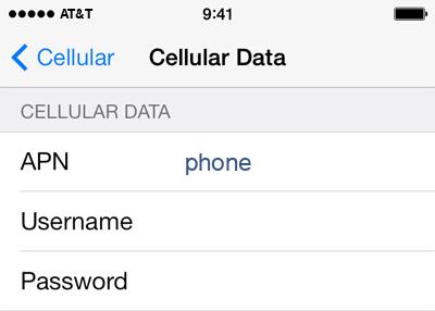 AT&T  APN settings for iOS9 screenshot