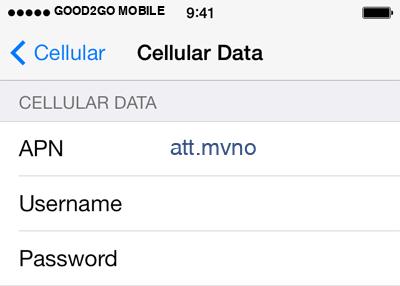 good2GO Mobile  APN settings for iOS8 screenshot