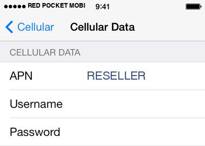 Red Pocket Mobile  APN settings for iOS9 screenshot