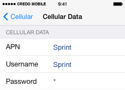 CREDO Mobile  APN settings for iOS9 screenshot