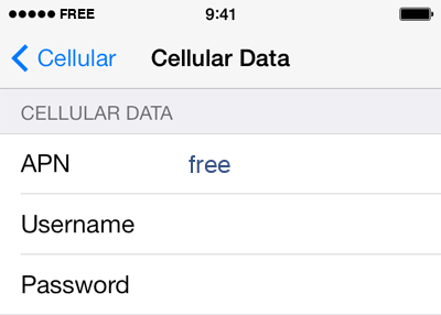 Free Internet APN settings for iOS8 screenshot