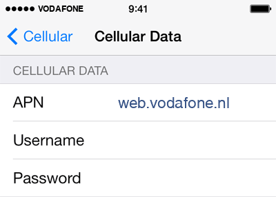 Vodafone Internet APN settings for iOS9 screenshot