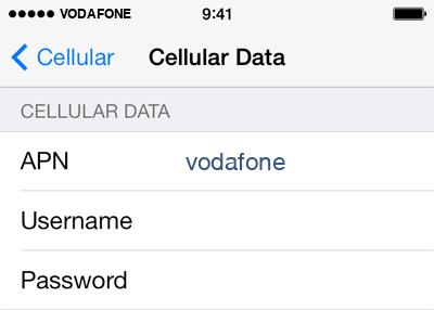Vodafone  Internet APN settings for iOS9 screenshot