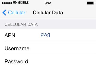 US Mobile  APN settings for iOS8 screenshot