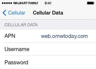 Walmart Family Mobile  APN settings for iOS9 screenshot