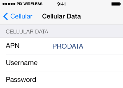 Pix Wireless  APN settings for iOS9 screenshot