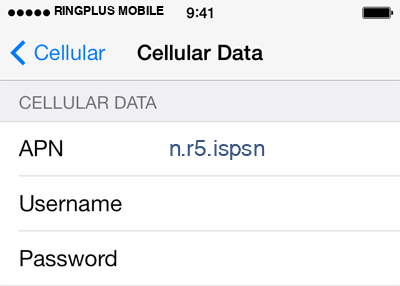 RingPlus Mobile  APN settings for iOS9 screenshot