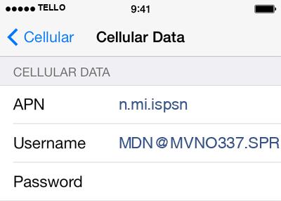 Tello  APN settings for iOS9 screenshot