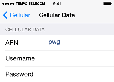 Tempo Telecom  APN settings for iOS9 screenshot