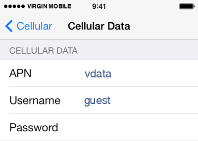 Virgin Mobile Internet APN settings for iOS8 screenshot