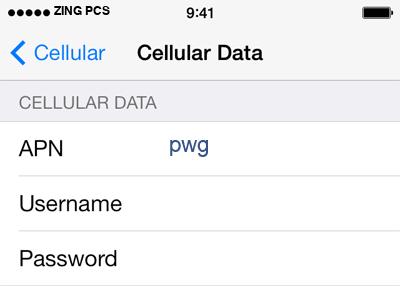 Zing PCS  APN settings for iOS9 screenshot