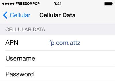 FreedomPop Internet APN settings for iOS8 screenshot
