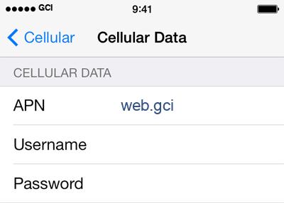 GCI Internet APN settings for iOS9 screenshot