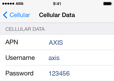 Axis Internet APN settings for iPhone 5S screenshot
