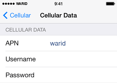 Warid Internet APN settings for iOS9 screenshot