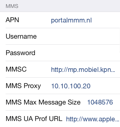 KPN  APN settings for iOS8 screenshot