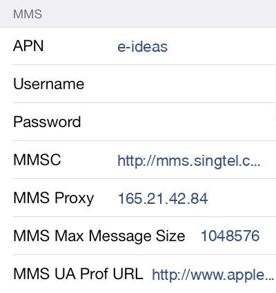 Singtel  APN settings for iOS8 screenshot