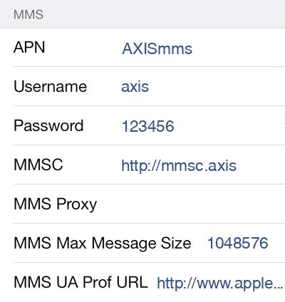 Axis MMS APN settings for iOS8 screenshot
