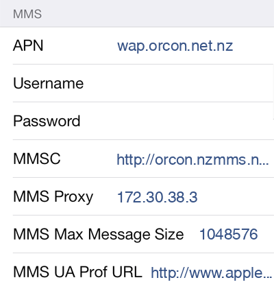 Orcon MMS APN settings for iOS9 screenshot