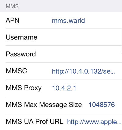 Warid MMS APN settings for iOS8 screenshot