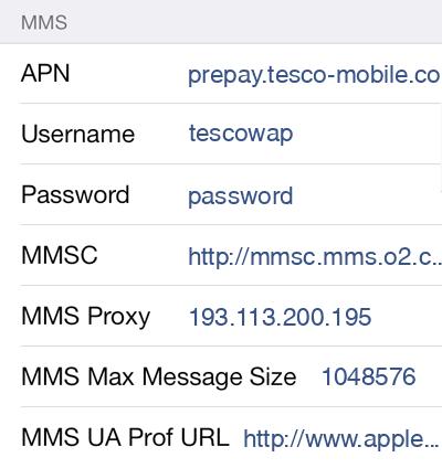 Tesco Mobile MMS APN settings for iOS9 screenshot