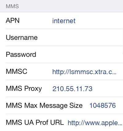Spark  APN settings for iOS9 screenshot