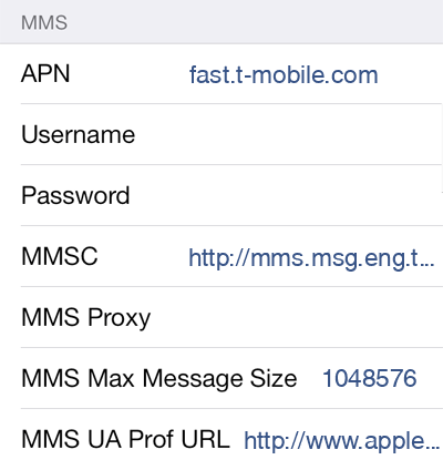 T-Mobile  APN settings for iOS8 screenshot