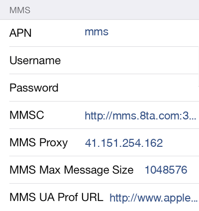 Telkom Mobile MMS APN settings for iOS8 screenshot