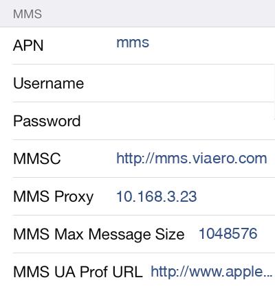 Viaero MMS APN settings for iOS9 screenshot