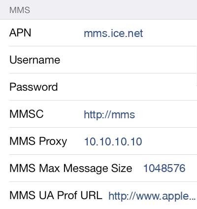 Ice.net MMS APN settings for iOS8 screenshot